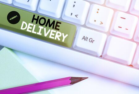 Writing note showing Home Delivery. Business concept for All checkout items are directly sent to the buyer s is home