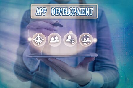 Conceptual hand writing showing App Development. Concept meaning producing computer software with a specialized purpose