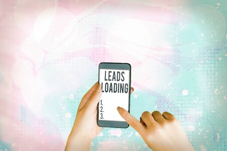 Text sign showing Leads Loading. Business photo showcasing Initiating customer regards with the generating process Stockfoto