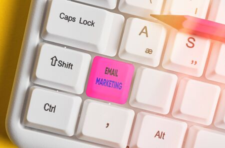 Text sign showing Email Marketing. Business photo showcasing attracting potential buyer by communicating through the message