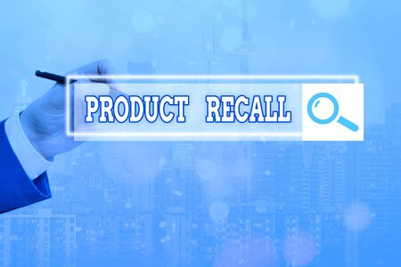 Text sign showing Product Recall. Business photo showcasing request to return the possible product issues to the market