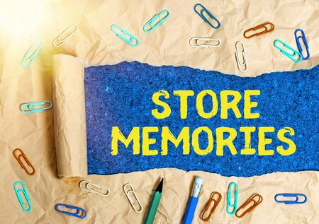 Conceptual hand writing showing Store Memories. Concept meaning a process of inputting and storing data previously acquired