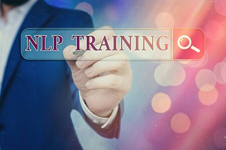 Word writing text Nlp Training. Business photo showcasing words have power approach includes seminar, coaching, training, and advice Foto de archivo