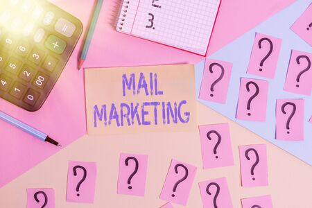 Conceptual hand writing showing Mail Marketing. Concept meaning sending a commercial message to build a relationship with a buyer Mathematics stuff and writing equipment on pastel background