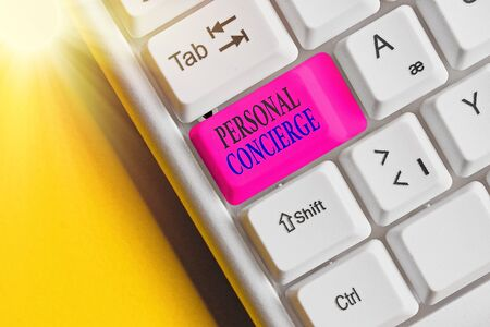 Word writing text Personal Concierge. Business photo showcasing someone who will make arrangements or run errands