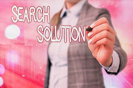 Word writing text Search Solution. Business photo showcasing finding the appropriate answer while dealing a problem