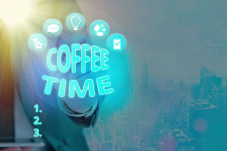 Writing note showing Coffee Time. Business concept for a chosen period when a cup of coffee is served and drunk Stock fotó