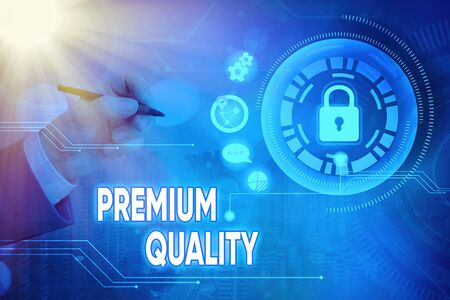 Word writing text Premium Quality. Business photo showcasing a brand that reaches the degree of the highest standard Stockfoto