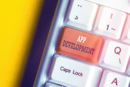 Writing note showing App Development. Business concept for producing computer software with a specialized purpose