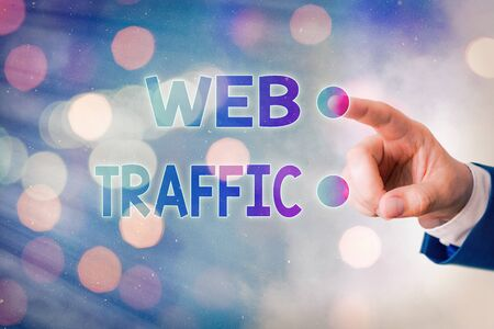 Writing note showing Web Traffic. Business concept for amount of web users and attempted visit measured of a website Banque d'images - 149198157