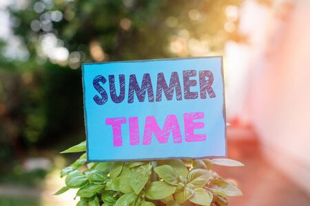 Text sign showing Summer Time. Business photo text the hottest season of the year characterized by short nights Plain empty paper attached to a stick and placed in the green leafy plants