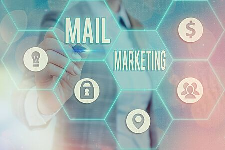 Writing note showing Mail Marketing. Business concept for sending a commercial message to build a relationship with a buyer