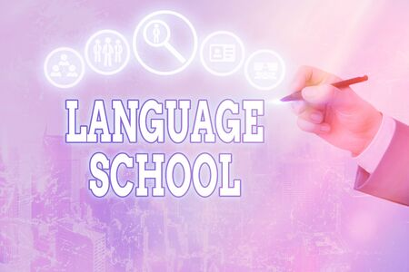 Conceptual hand writing showing Language School. Concept meaning educational institution focusing on foreign languages