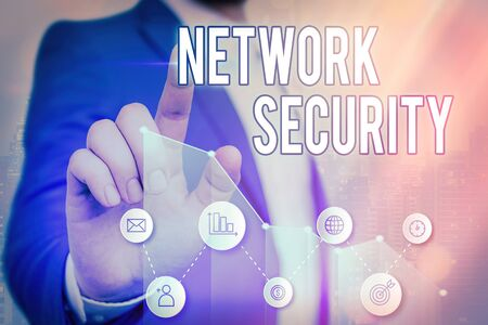 Writing note showing Network Security. Business concept for practice of securing a computer web from intruders Banque d'images - 149397153