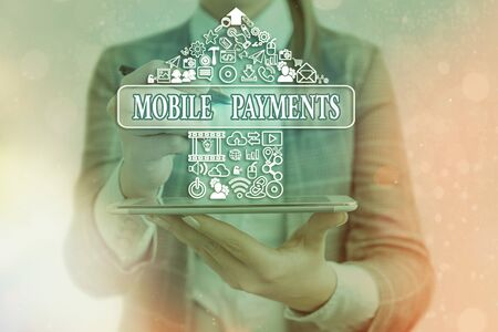 Handwriting text writing Mobile Payments. Conceptual photo financial transaction processed through a smartphone Banque d'images - 149397174