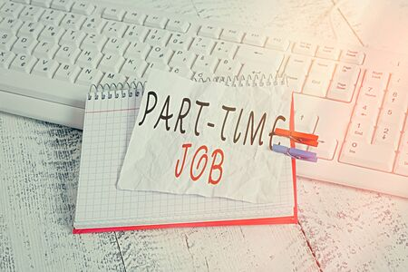 Handwriting text Part time Job. Conceptual photo employment marked by working less than 40 hours in a week notebook paper reminder clothespin pinned sheet white keyboard light wooden