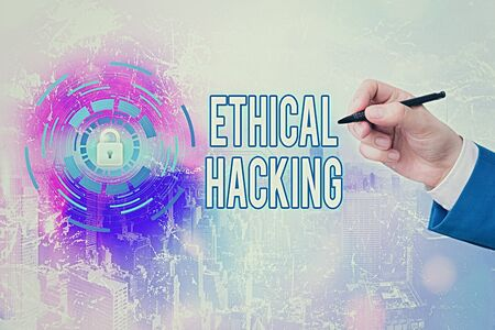 Handwriting text writing Ethical Hacking. Conceptual photo a legal attempt of cracking a network for penetration testing Banque d'images - 149397350