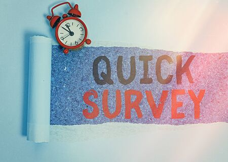 Text sign showing Quick Survey. Business photo text the research method used for collecting data to gain insights or business idea