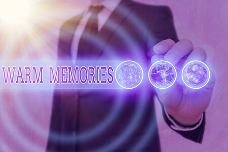 Word writing text Warm Memories. Business photo showcasing reminiscing the unforgettable collection of past events
