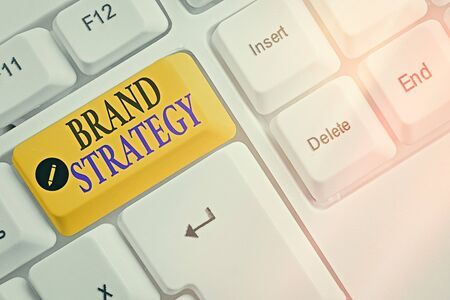 Text sign showing Brand Strategy. Business photo text longterm plan executed for the development of a good product