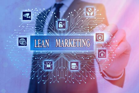 Word writing text Lean Marketing. Business photo showcasing in charge of testing retailing strategy and spot which works expertly