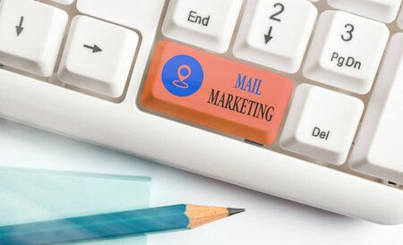 Text sign showing Mail Marketing. Business photo showcasing sending a commercial message to build a relationship with a buyer Stock Photo