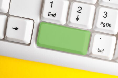 Different Colored Keyboard key With Accessories Arranged On Empty copy space Stock Photo