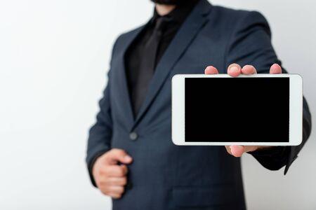 Model Displaying Black Screen Modern Smartphone Mock-Up For Personal Interest