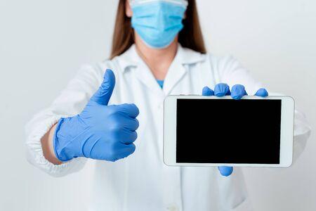 Laboratory Technician Featuring Empty Sticker Paper Accessories Smartphone Stok Fotoğraf