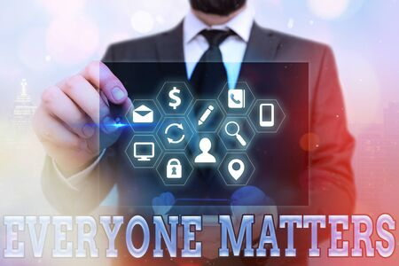 Word writing text Everyone Matters. Business photo showcasing listen to all the voices at the table no bias or preference Information digital technology network connection infographic elements icon