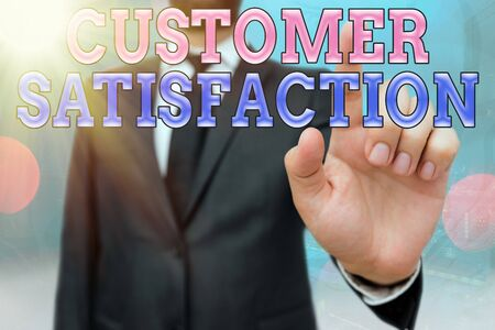 Writing note showing Customer Satisfaction. Business concept for number of users whose experience ratings exceed goals Touch screen digital marking important details in business Stok Fotoğraf