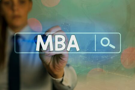 Writing note showing Mba. Business concept for designed to develop the skills for careers in business and management