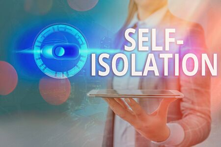 Text sign showing Self Isolation. Business photo showcasing promoting infection control by avoiding contact with the public Graphics padlock for web data information security application system