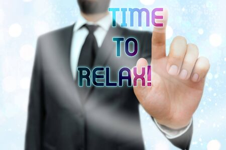 Writing note showing Time To Relax. Business concept for resting and keep calm after doing something tiring or stress Stock fotó