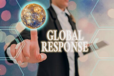 Handwriting text Global Response. Conceptual photo indicates the behaviour of material away from impact point Futuristic icons solar system.