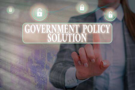 Writing note showing Government Policy Solution. Business concept for designed game plan created in response to emergency disaster Graphics padlock for web data information security application system