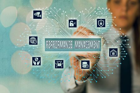 Word writing text Performance Management. Business photo showcasing ongoing process of communication that occurs all year Banque d'images