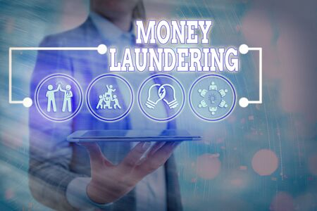 Text sign showing Money Laundering. Business photo text illegal process hiding origin of money obtained illegally