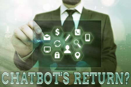 Word writing text Chatbot s is Return Question. Business photo showcasing program that communicate use text interface and AI Information digital technology network connection infographic elements icon