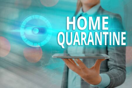 Text sign showing Home Quarantine. Business photo showcasing Encountered a possible exposure from the public for observation Graphics padlock for web data information security application system