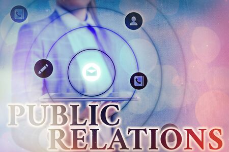 Text sign showing Public Relations. Business photo showcasing professional maintenance of a favorable image by a company Information digital technology network connection infographic elements icon