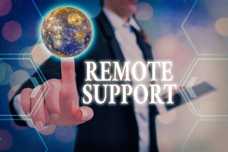 Handwriting text Remote Support. Conceptual photo type of secure service, which permits representatives to help Futuristic icons solar system.