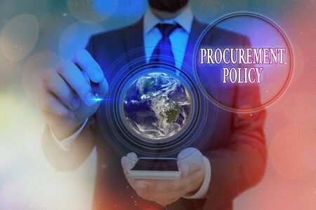 Word writing text Procurement Policy. Business photo showcasing govern choice of suppliers used to tell their suppliers