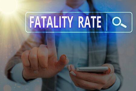 Word writing text Fatality Rate. Business photo showcasing calculated number of deaths over a specific range of period Web search digital information futuristic technology network connection Stock Photo