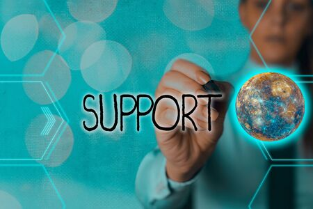 Handwriting text writing Support. Conceptual photo maintain, sustain, uphold all mean to hold up and to preserve Futuristic icons solar system.
