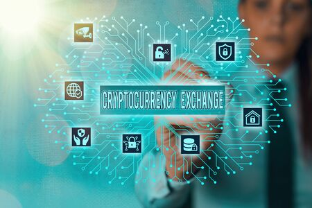 Word writing text Cryptocurrency Exchange. Business photo showcasing allow client to trade digital money for other assets Foto de archivo