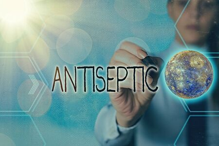 Handwriting text writing Antiseptic. Conceptual photo antimicrobial agents that delays or completely eliminate the microorganism Futuristic icons solar system. 免版税图像
