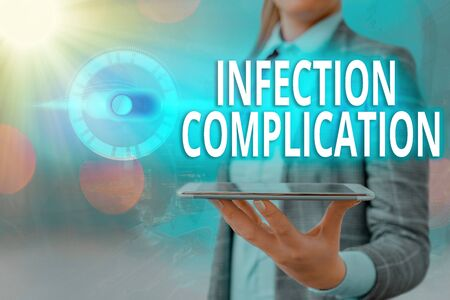 Text sign showing Infection Complication. Business photo showcasing unwanted reaction resulted from an immunosuppression Graphics padlock for web data information security application system