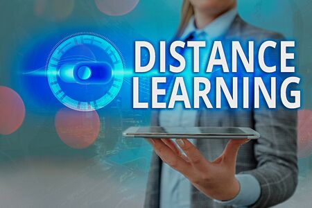 Text sign showing Distance Learning. Business photo showcasing educational lectures broadcasted over the Internet remotely Graphics padlock for web data information security application system