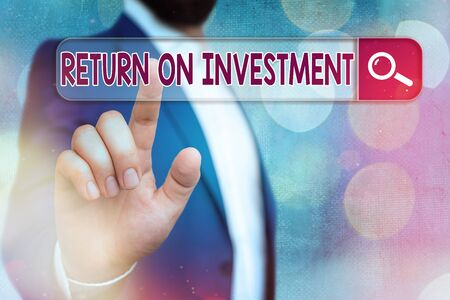 Handwriting text writing Return On Investment. Conceptual photo reviewing a financial report or investment risk analysis